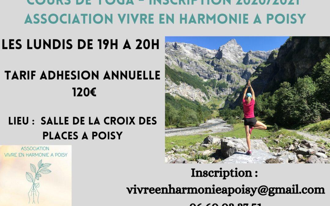 Cours de Yoga saison 2020-2021 Association Vivre en Harmonie à Poisy